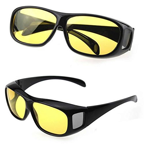 GaoCold Unisex HD Night Vision Driving Sunglasses Yellow Lens Over Wrap Around - Night Yellow Glasses Driving