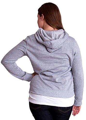 Heather Gray Ladies Plus Size Soft Drawstring Hoodie Kangaroo Pocket