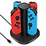 Kiya 4-in-1 Switch Joy-con Charger for Nintendo, Switch Controller Charger with Led Indication - Controllers Not Included (Color: Black)