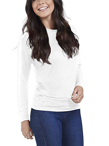Seek No Further Women's Long Sleeve Ribbed Raglan T Shirt, White, - Sleeve Long Rayon Ribbed