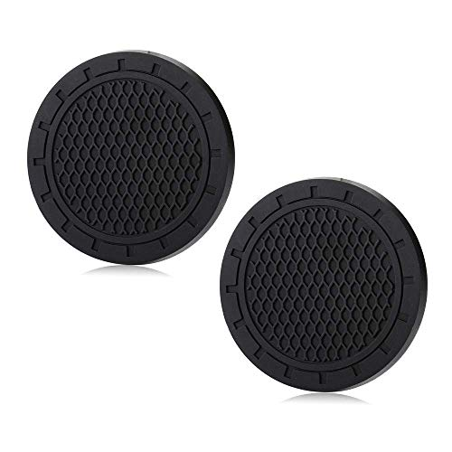 Shenwinfy 2.75 Inch Car Interior Accessories Anti Slip Mat for Toyota Audi BMW Mercedes Benz All Bands Cars, Cup Holder Coaster Auto Interior Decoration Pad Without Logo(2 PCS)