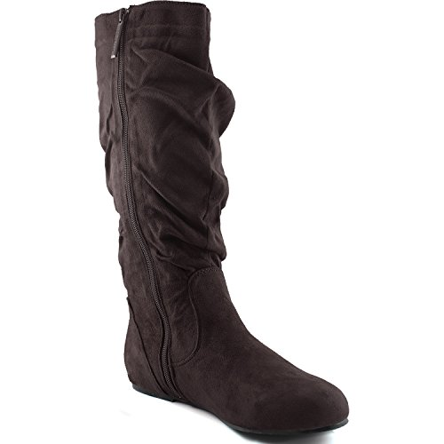 Dailyshoes Womens Mid Calf Zipper Slouch Suede Comfortable Boots Brown Seude lOB3hnf