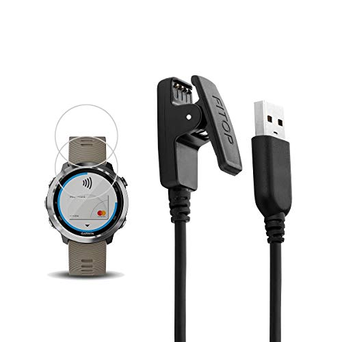 X1 for Garmin Forerunner 645 Charger, Forerunner 645 Music Charging Cable,Charging Clip Synchronous Data Cable + 2Pcs Free HD Tempered Glass Screen Protector for Garmin Forerunner 645 Music Watch