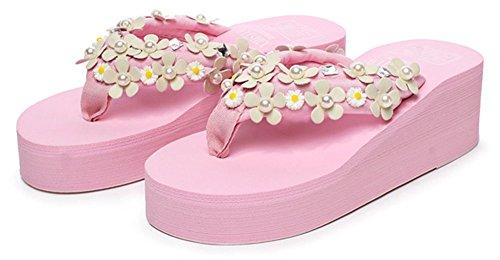 Sfnld Dames Sweet Flower Strass Zomer String Flip Flop Platform Strand Sandalen Slippers Roze