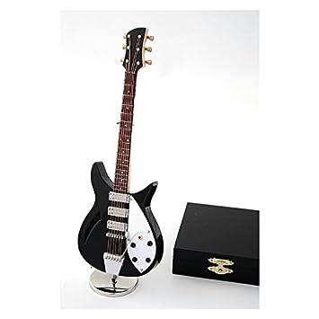 2503-1054- Guitarra eléctrica decorativa negra 24 centimetros. Miniatura en madera. Con estuche y soporte: Amazon.es: Hogar