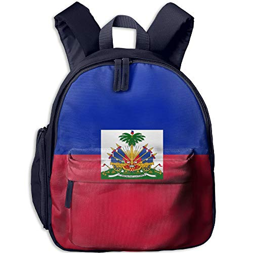 Haitian Flag Double Zipper Waterproof Children Schoolbag With Front Pockets For Teens Boy Girl by TPXYJOF