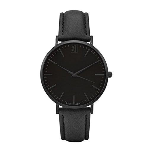 (Godagoda Unisex Classic Retro Quartz Watch Roman Numerals Dial with Rhombic Pointer PU Leather Strap (Black Belt Black)
