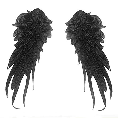 2 Pcs Wings Feather Patches Embroidered Fabric Large Patch Shoulder Applique Stick Sewing Patches for DIY Halloween Costume Clothes Bag Decoration (Black) -