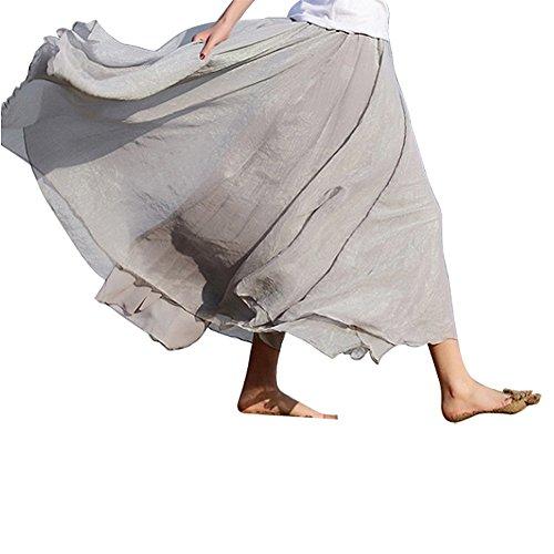 SODIAL Jupe en mousseline de soie retro longue pour Femmes - Bleu diamant Gris