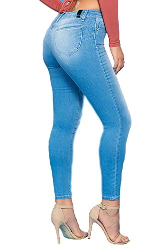 YMI Jeanswear Juniors Denim Luxe Lift 1-Button Hi-Rise Regular Ankle Hem Jeans