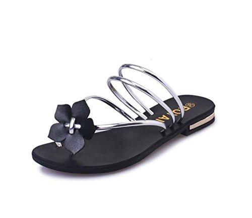 SHINIK Zapatos de mujer Flip-Flops Walking Low Heel Round Toe Verano Negro Plata Verde Rojo Talla 35-40 Plata