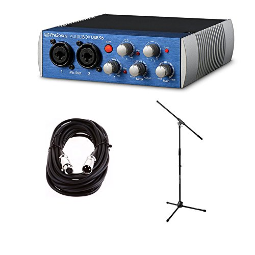 Premium Microphone 25' Cable (Presonus AudioBox USB Portable and Lightweight 2x2 USB Recording System with On Stage Boom Mic Stand and Comprehensive XLR to XLR 25' Premium Microphone Cable)