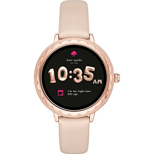 kate spade watches Pink IP and Vachetta Leather Scallop Touchscreen Smartwatch