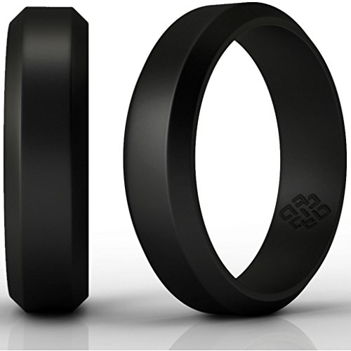 Love Knot Look Ring - Knot Theory Silicone Wedding Ring - 8mm Band for Superior Comfort, Style, and Safety (Black, Size 9)