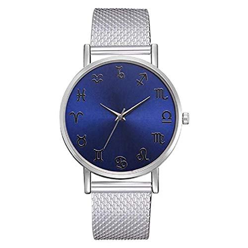 Constellation Ladies Quartz Small Watch - Noopvan Casual Women Mens Watch Fashion Silicone Mesh Belt Watch Ladies Constellation Round Watch (C)