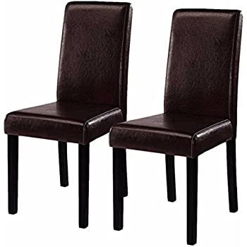 """Costway Elegant Design Leather Modern Dining Chairs Room Furniture Urban  Style Solid Wood Leatherette Padded Parson Chair Kitchen Seats 21""""X16""""X35""""  ..."""