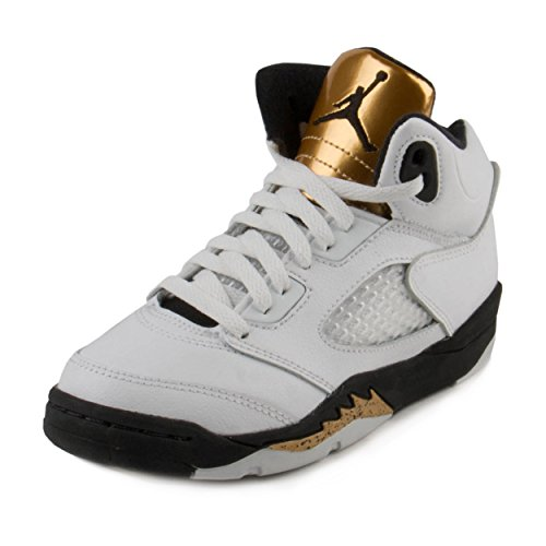 Nike Baby Boys Air Jordan 5 Retro BG ''Olympic Gold'' White/Black-Gold Leather Size 10.5C by NIKE