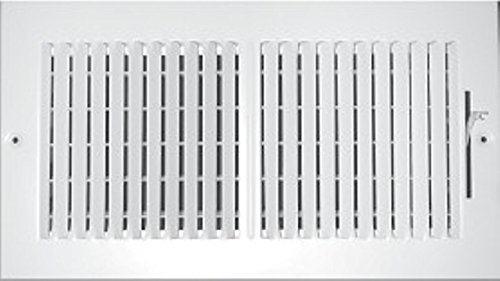 30″ X 6″ 2-Way-Vertical AIR Supply Grille – Vent Cover & Diffuser – Flat Stamped Face – White [Outer Dimensions: 31.75″w X 7.75″h]