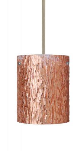 Besa Lighting 1TT-4006CS-SN 1X100W A19 Tamburo 8 Pendant with Stone Copper Foil Glass, Satin Nickel Finish