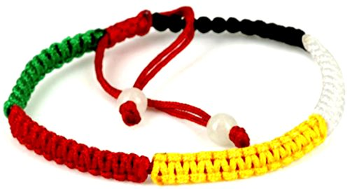 Feng shui 5 color element adjustable macrame style bracelet with 2 gemstone beads - women men (5 Macrame Bracelets)