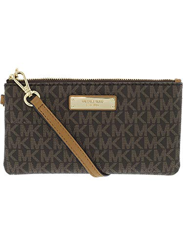 - MICHAEL Michael Kors Signature Jet Set Item Medium Wristlet, Color 200 Brown w/Gold-tone Hardware