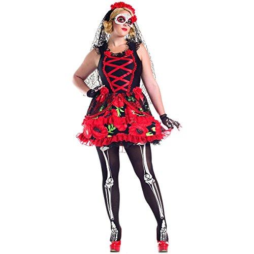Day of the Dead Senorita Costume - Plus Size 2X - Dress Size 18-20 -