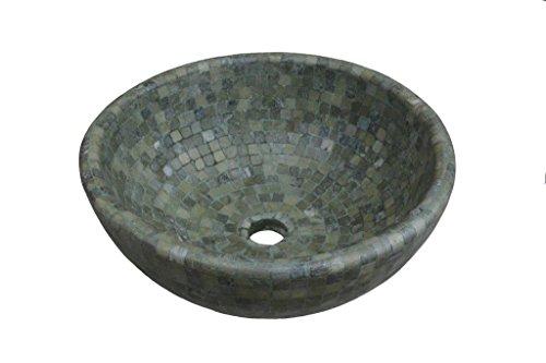 Green Mosaic Vessel Travertine Sink Green Mosaic Vessel Stone Sink