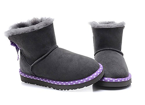 SONGYUNYAN Damen Schneestiefel Lammfell Pelz warme Leder einteilige Mini 2