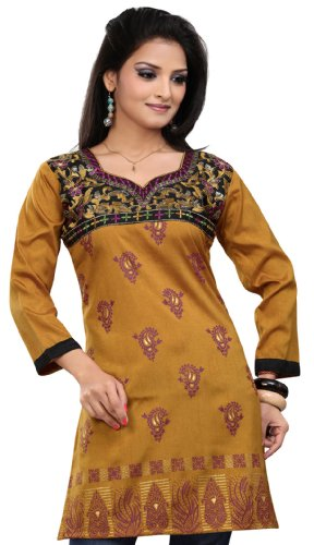 Indian Kurti Top Tunic Embroidered Womens Blouse India Clothes (Brown, L)