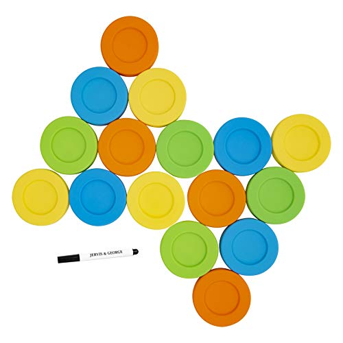 patible with Regular Mouth Size Ball Jars - Reusable and Leak Proof Plastic Lids are BPA Free - Includes Pen for Marking - Green & Orange - Pack of 16 ()