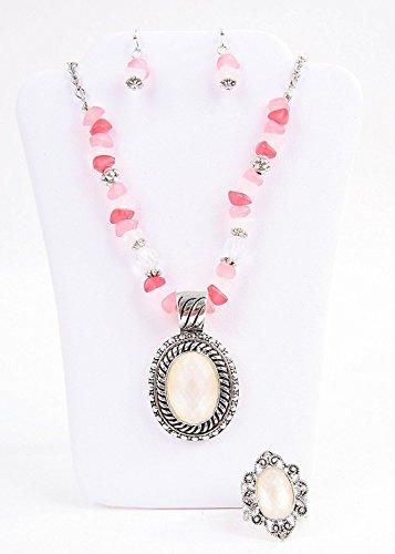 Avon Beaded Chain Medallion Gift Set Fuschia Pink (Avon Jewellery)