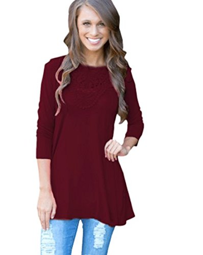 Blooming Jelly Women's 3/4 Sleeve Casual Loose Crochet Lace Tunic Tops Shirt (L, Wine Red) (Top Crochet Tunic)