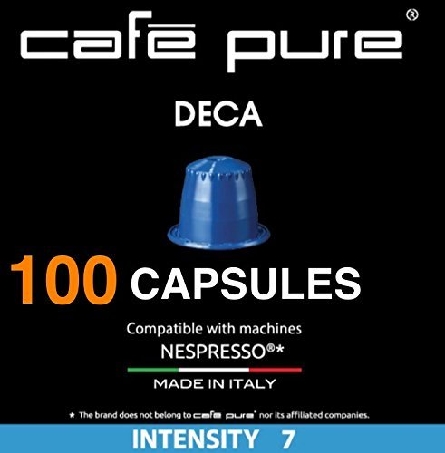 DECAFFEINATED COFFEE COMPATIBLE WITH NESPRESSO ($0.34) COMPATIBLE Capsules -Cafe Pure- For all NESPRESSO original line Machines, PACK of 10 Pods. 100 Pods. Made in ITALY (100, Decaf)