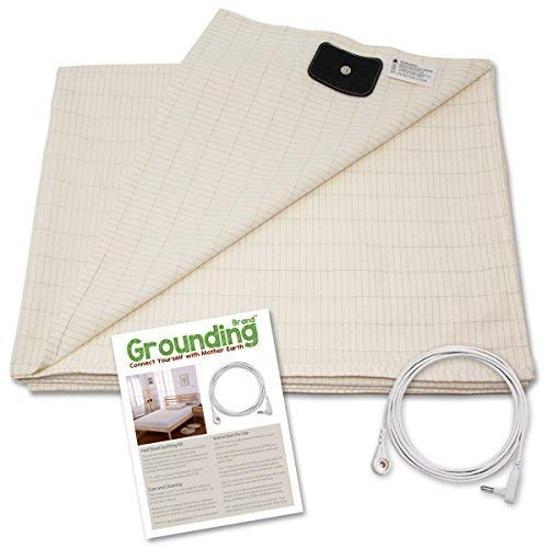 Earthing Half Sheet with Grounding Connection Cord - Silver Antimicrobial Conductive Mat for Better Sleep, Natural Wellness and Healthy Earth Energy, Large 98x35.5 Inches fits Full, Queen and King