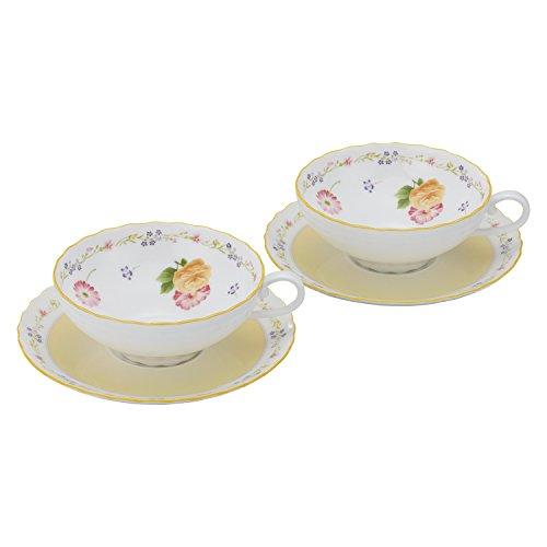 Bone china Genevieve Freres tea porcelain bowl plate pair set P58043A/4620 (japan import) (Plates China Porcelain Japan)