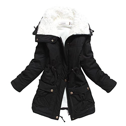 pre order aliexpress attractivedesigns Womens Thick Warm Parkas Mid Length Solid Coats Faux Fur Lined Winter  Outwear Jacket (XL, Black)