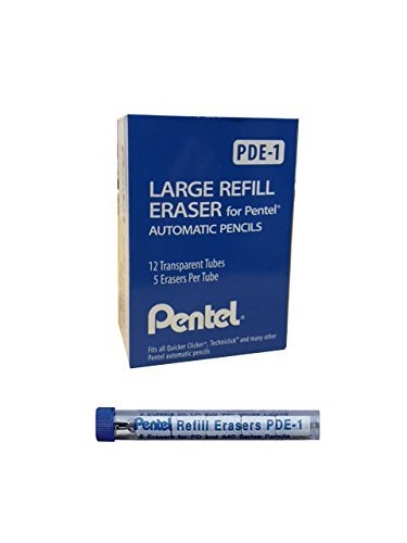 Pentel Refill Eraser For AL, AX and PD Series Pencils 5 Pcs/Tube, Box of 12 -