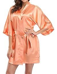 Pure Color Satin Short Silky Bathrobe Sleepwear Nightgown...
