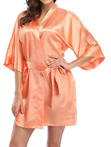 Giova Pure Color Satin Short Silky Bathrobe Sleepwear Nightgown Pajama,Orange,Medium -