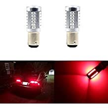 1157 BAY15D 1016 1034 1178A 1196 2057 Brake Lights Bulbs 33 SMD Extremely Bright Red LED Bulb 5630 Chips Turn Signal Blinker Lamp Light Bulbs (Set of 2)