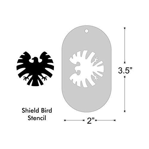 Stencil- Shield Bird, 1.5x1.4 Inch Image on 3.5x2 Border, Size 1