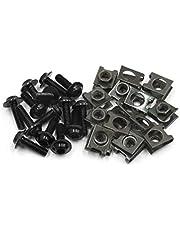 Sourcingmap 6mm 16Pcs Negro Metal Accesorio de Motocicleta Tema Diámetro Pernos Hexagonales Tornillos Remache de Clip Grapa