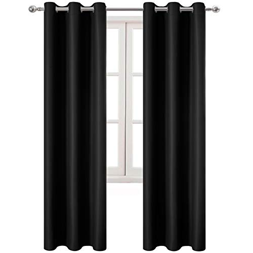 DWCN Blackout Curtains Room Darkening Grommet Thermal Insulated Light Blocking 42 x 95 Inches Length Curtain Panels for Bedroom Girl Room, Set of 2 Black Thick Panel