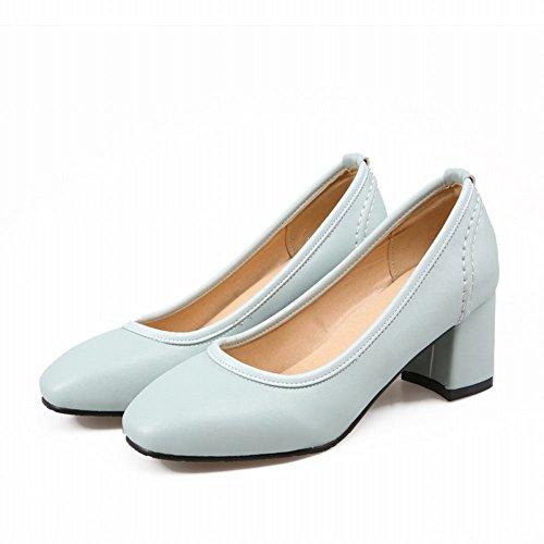 Latasa Womens Simple Square-toe Mid Chunky Heel Slip on Pumps Light Blue tOvkpRlEkG