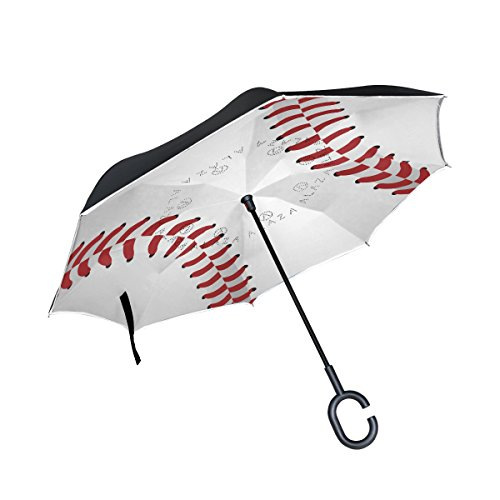 Baseball Umbrellas - ALAZA Baseball Close Up Inverted Umbrella Double Layer Windproof Reverse Folding Umbrella for Car With C-Shape Handle