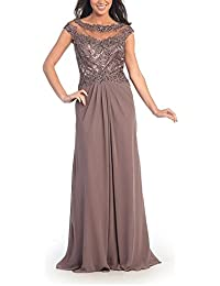 Womens Long Chiffon Evening Dress With Lace Party Dresses