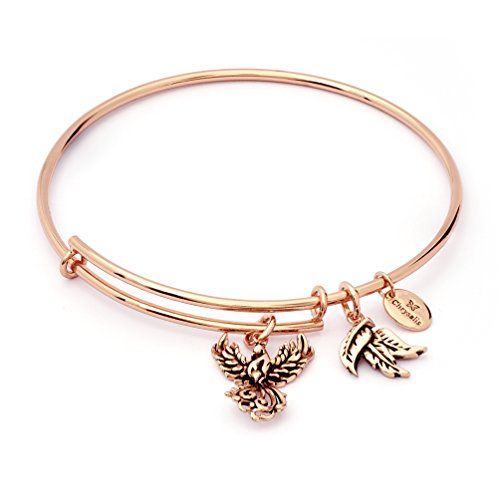 Charmed Phoenix Charm Expandable Bangle Bracelet, Rose Gold Plated ()