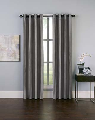 Curtainworks Malta Faux Silk Grommet Curtain Panel, 50 by 84