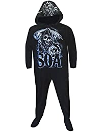 Grim Reaper One Piece Hooded Footie Pajama for men