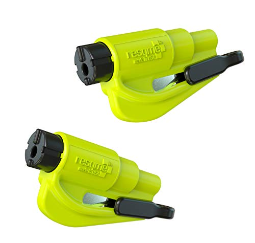 - resqme 04.100.09 The Original Keychain Car Escape Tool Safety Yellow Seatbelt Cutter and Window Glass Breaker, 2 Pack